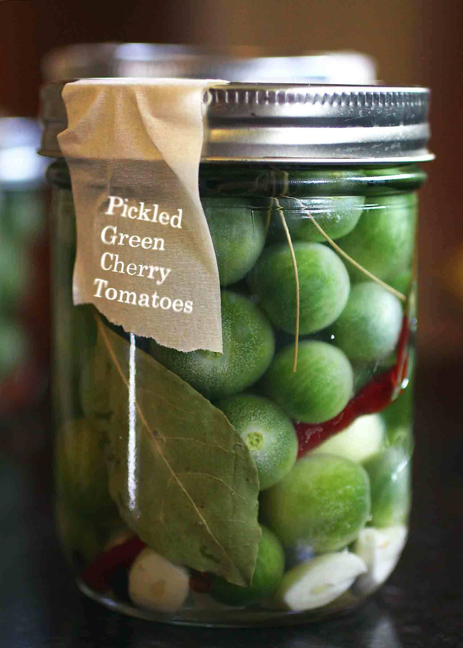 Refrigerator Pickled Green Cherry Tomatoes