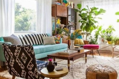 eclectic living room feature