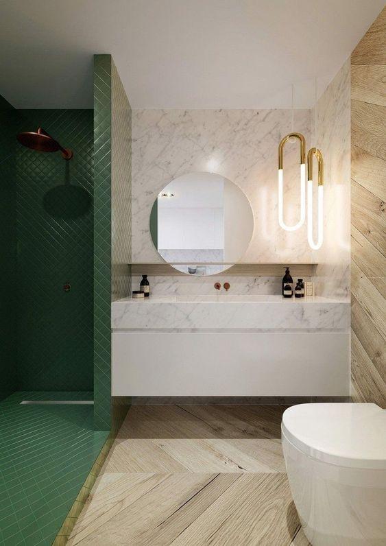 Green Bathroom Ideas: Glamor Earthy Decor