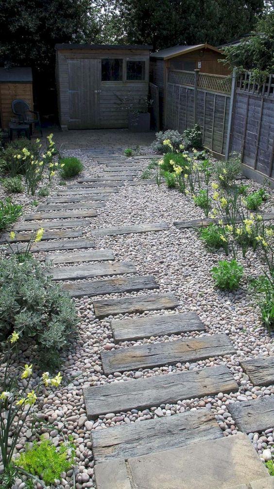 Rustic Backyard Ideas: Chic Wood Pathway