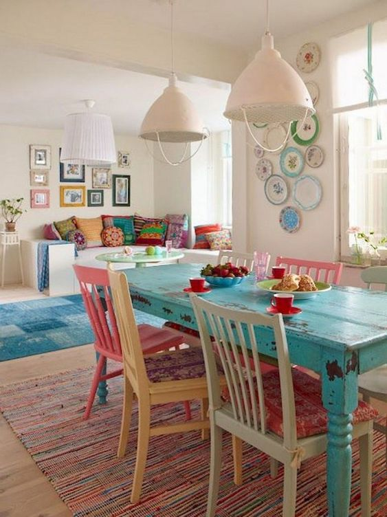 Eclectic Dining Room: Colorful Vintage Decor