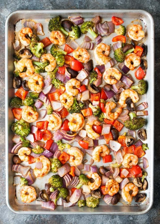 One Pan Roasted Shrimp and Veggies