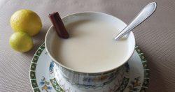 meringue milk in a ceramic glass