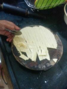5. Cutting flattened dough with cutter