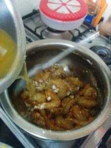 Adding prawns & tamrind pulp