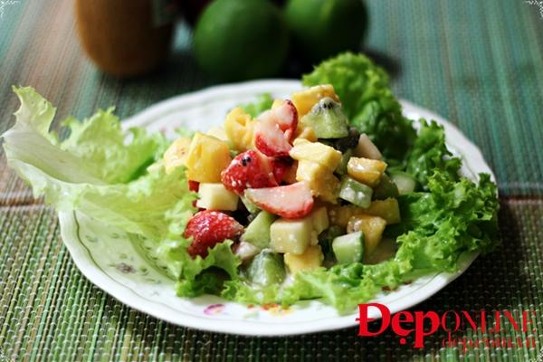 salad trái cây, salad hoa quả, cách làm salad hoa quả, salad kiwi, salad dâu