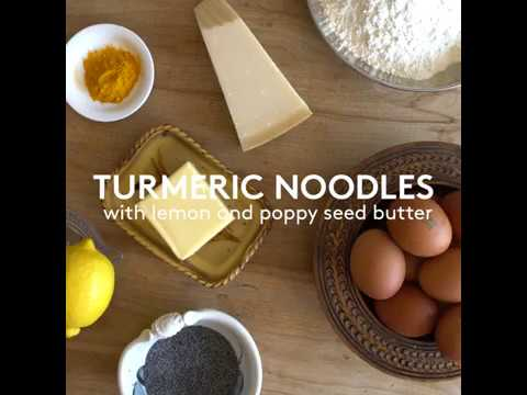 Turmeric Noodles with Lemon and Poppy Seed Butter: a recipe from Strudel, Noodles and Dumplings