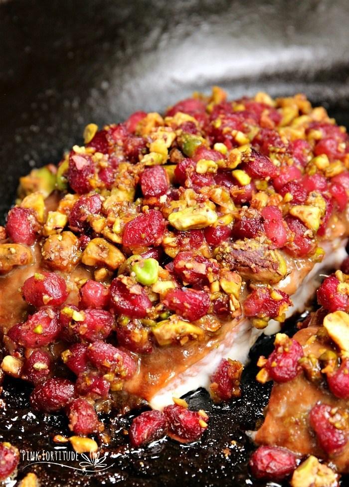 Pistachio Crusted Salmon with Pomegranate Glaze recipe