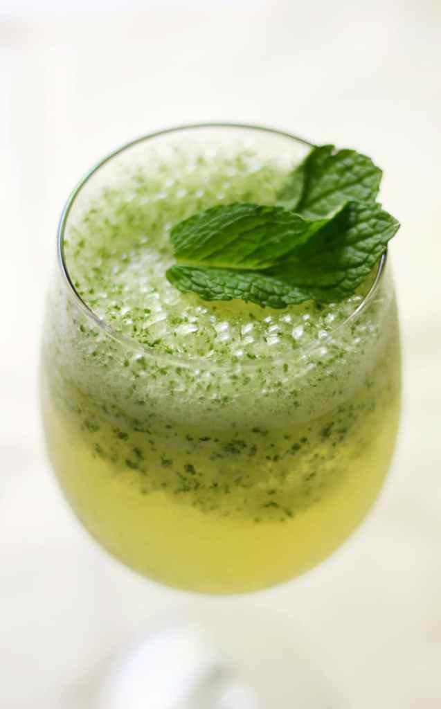 Frosty Coconut Mint Green Tea Mocktail recipe