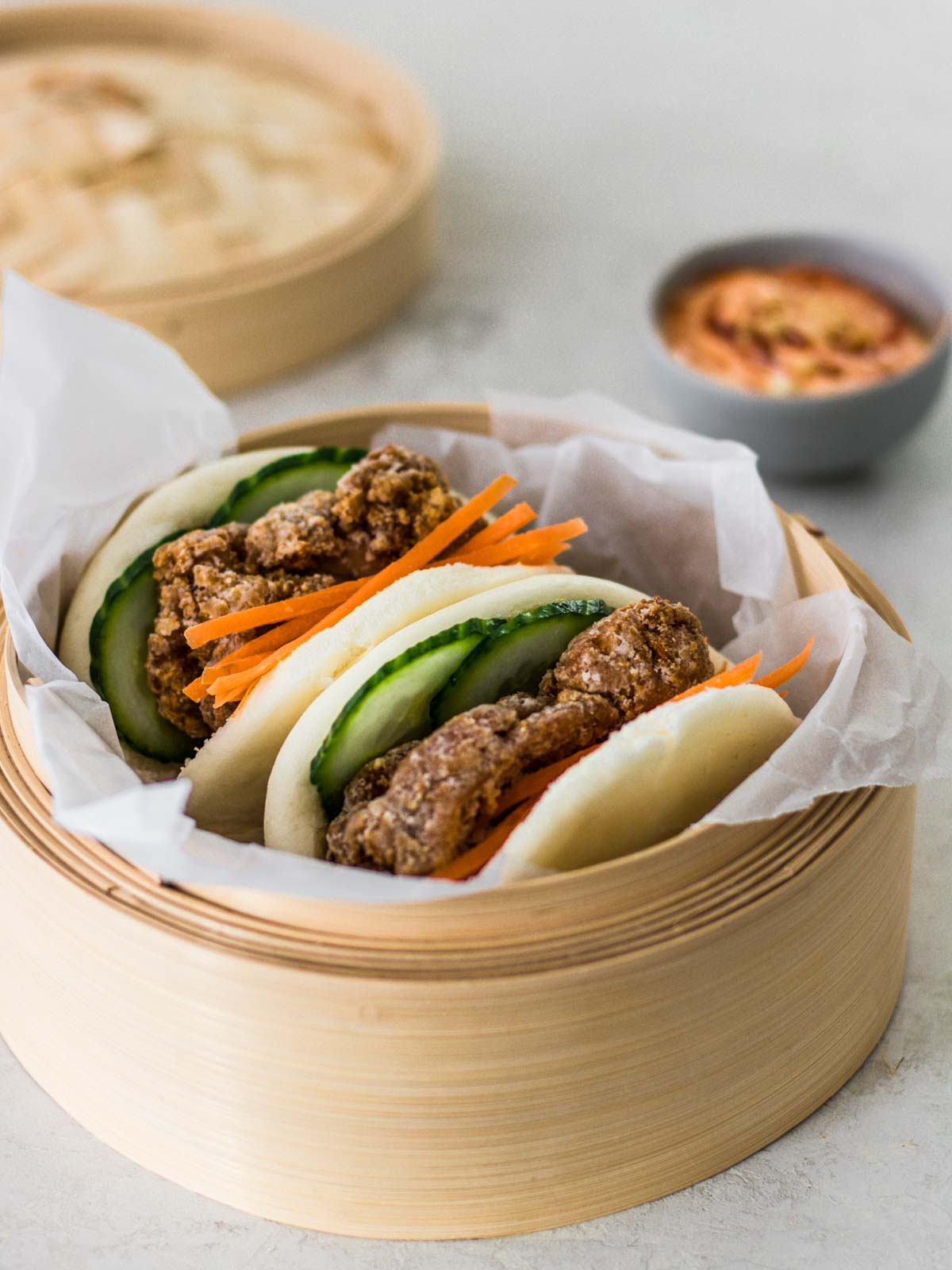 Fried Chicken Bao Buns and Sauce