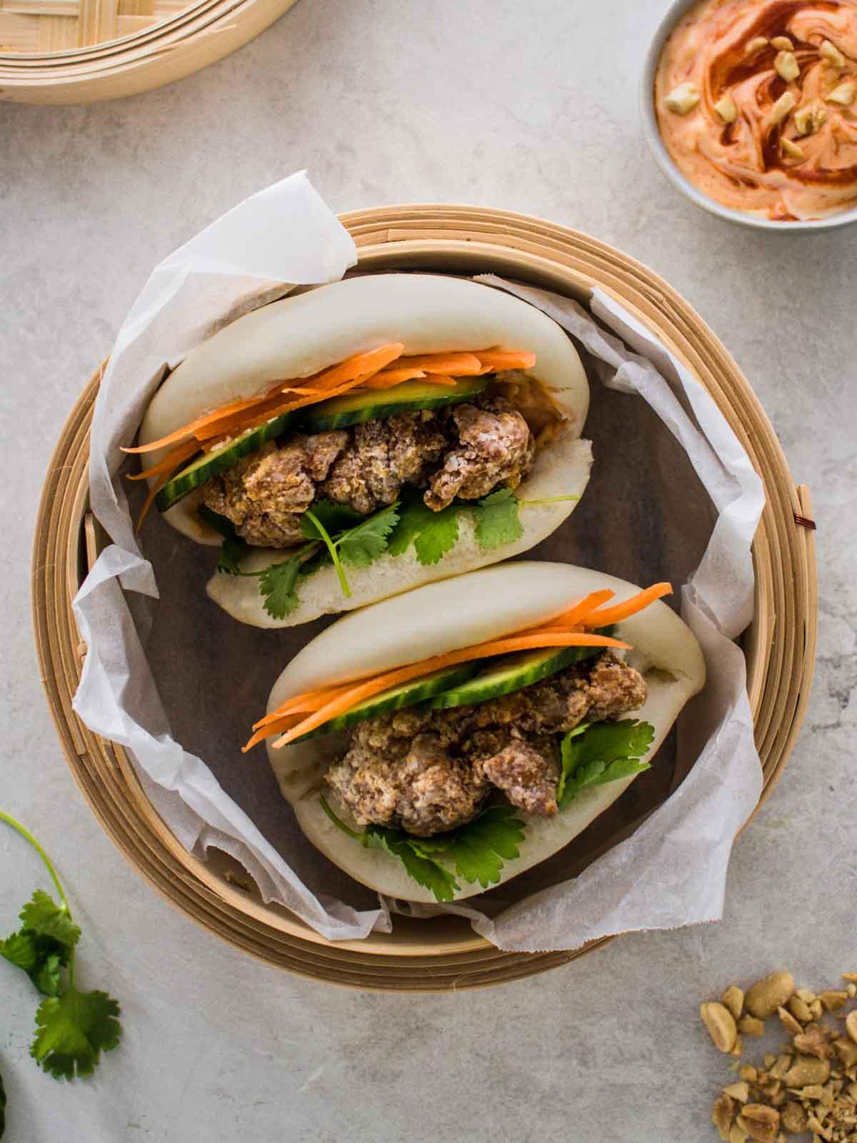 How to Make Fried Chicken Bao Buns