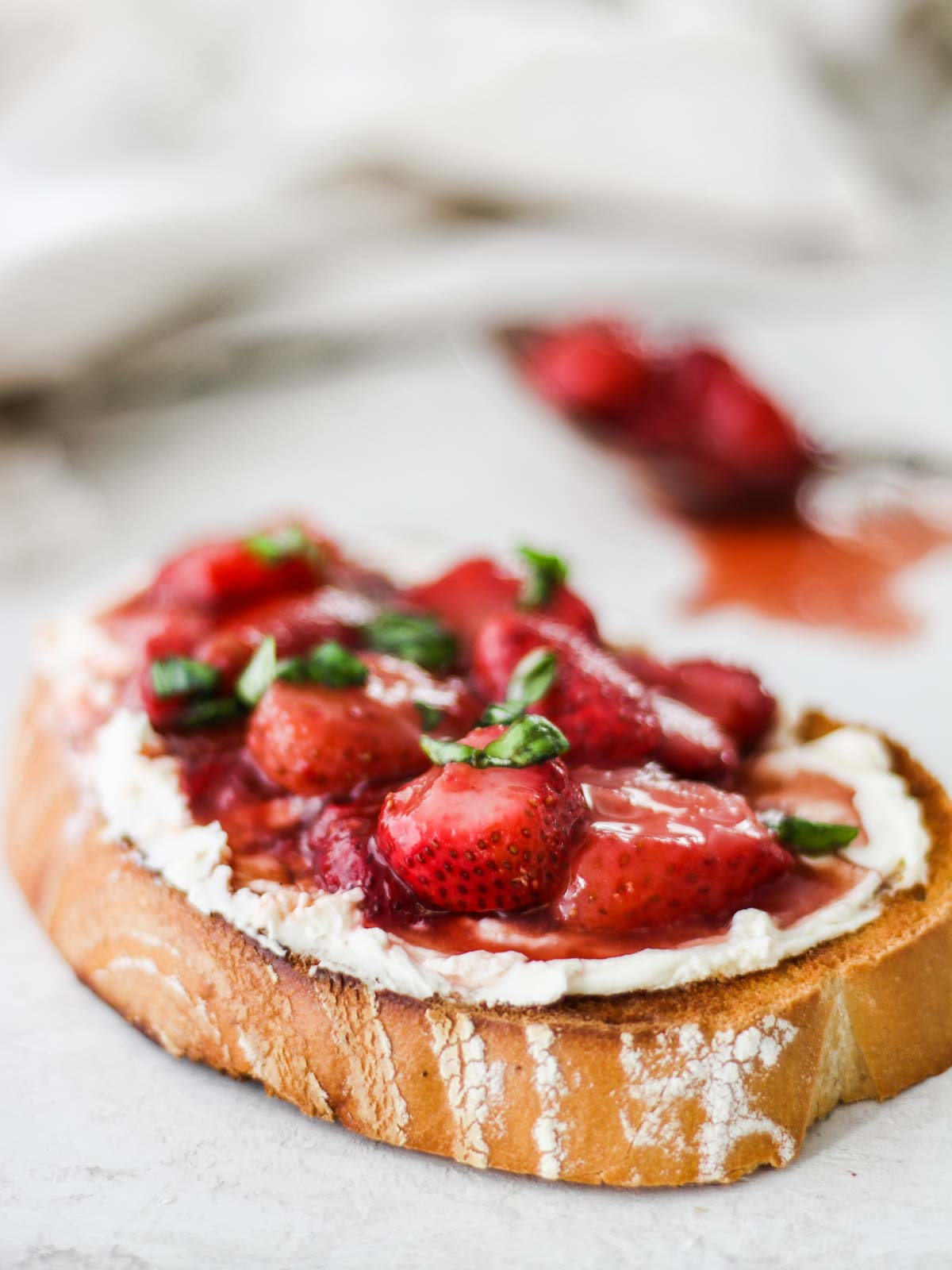 Balsamic Macerated Strawberries on toast
