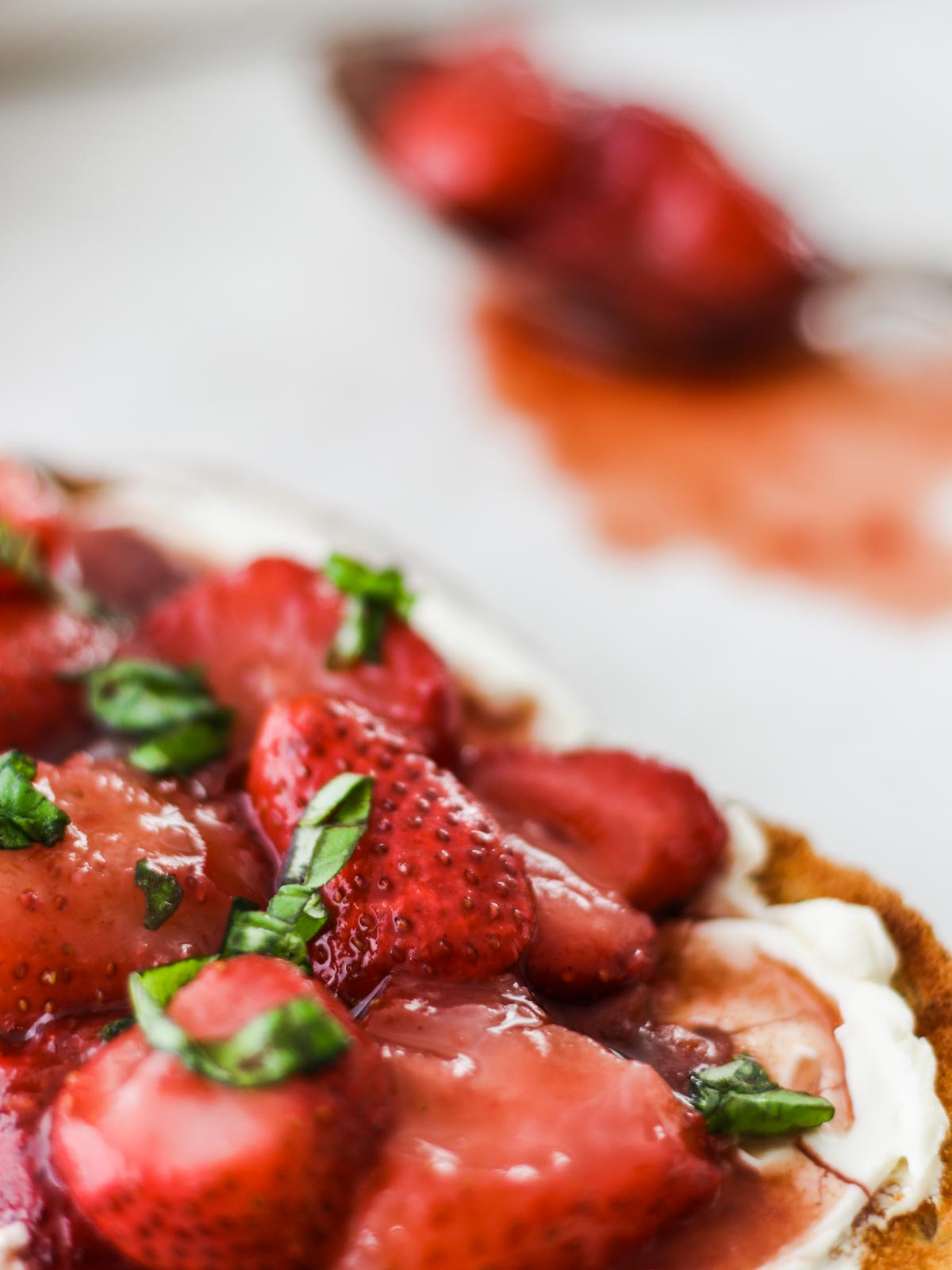 Balsamic Strawberries on toast with basil