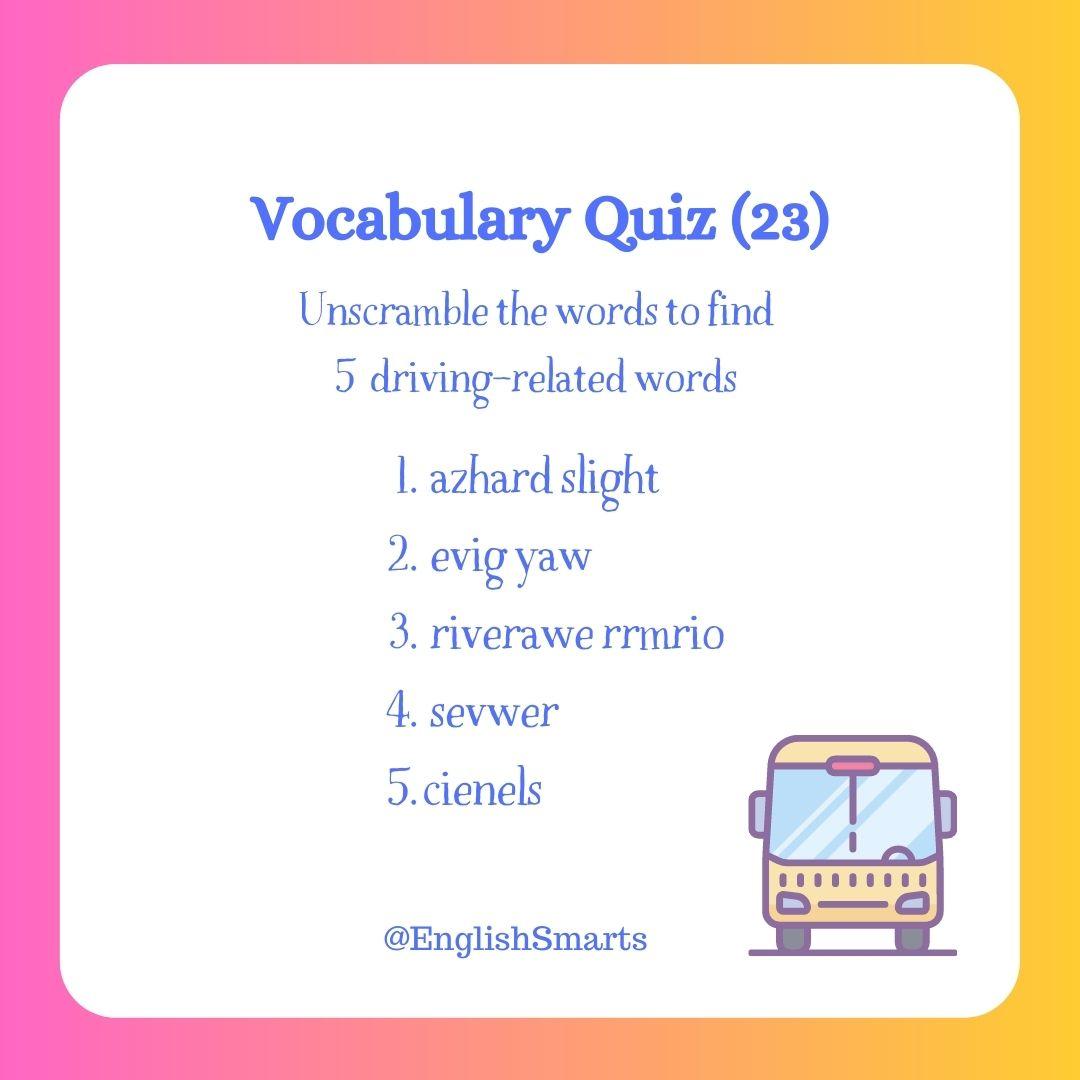 Quick Vocabulary Quiz 23