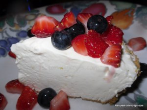 No Bake Frozen Lemon Cheesecake with Vanilla Sweetened Berries