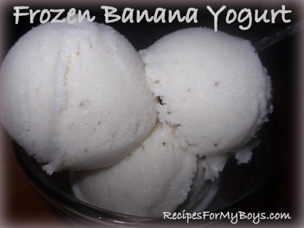 Frozen Banana Yogurt in the Freezer