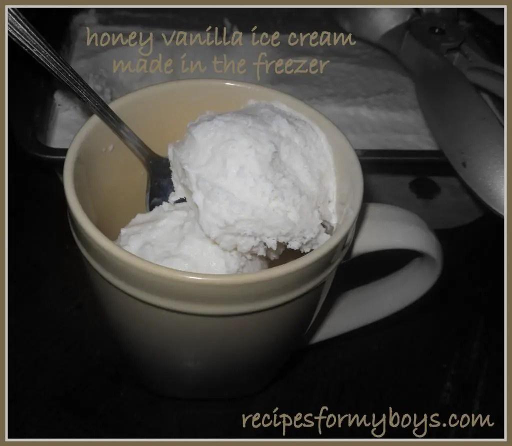 Honey Vanilla Ice Cream Made in the Freezer