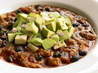 Turkey and Black Bean Chili with Hass Avocado Salsa