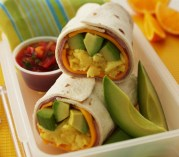 Avocado, Egg and Ham Breakfast Wrap