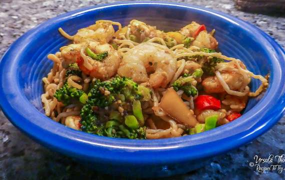 Spicy Shirataki Noodles With Shrimp & Broccoli    Stir Fry