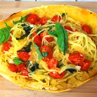 Spaghetti Squash with Tomato, Basil and Garlic