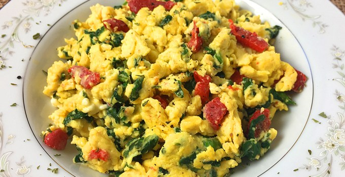 Scrambled Eggs with Spinach, Feta and Roasted Red Peppers