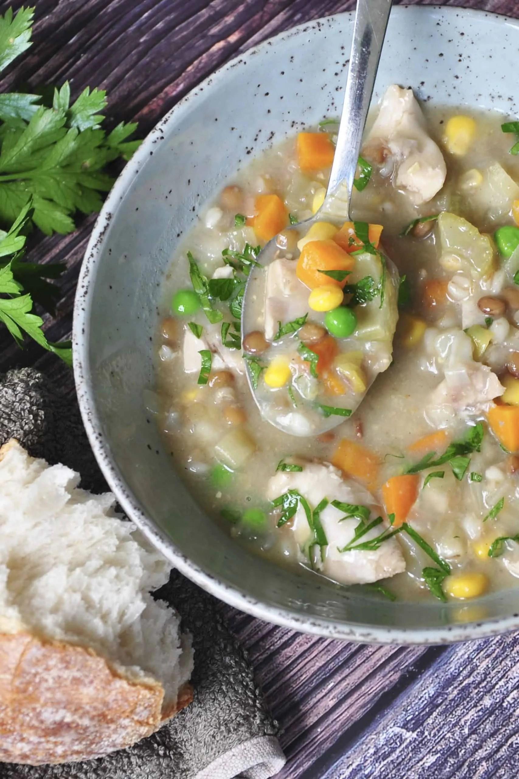 Chicken vegetable and lentil soup