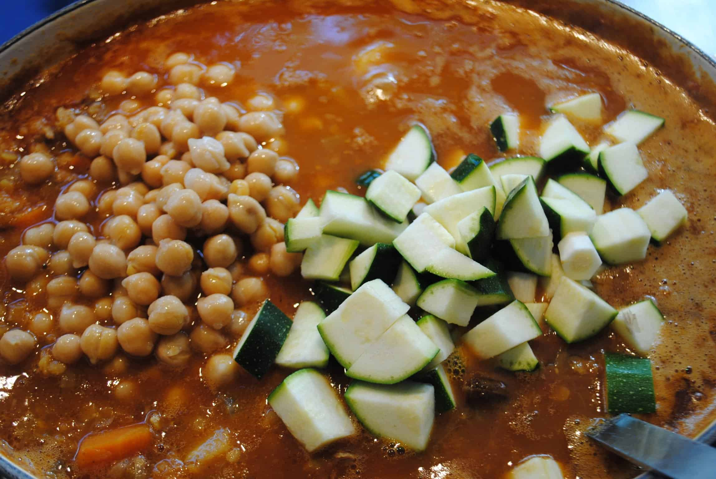 Zucchini and and chickpeas added to the harira soup pot