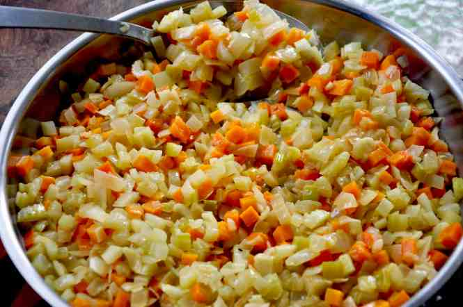 onion, carrot, celery and leek sautéing off ready for making pea and ham hock soup