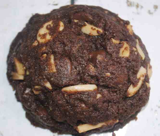 double chocolate almond cookie just out of the oven