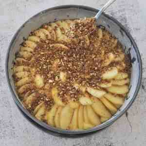 apple crumble cake with apples on cake and crumble topping sprinkled over the top