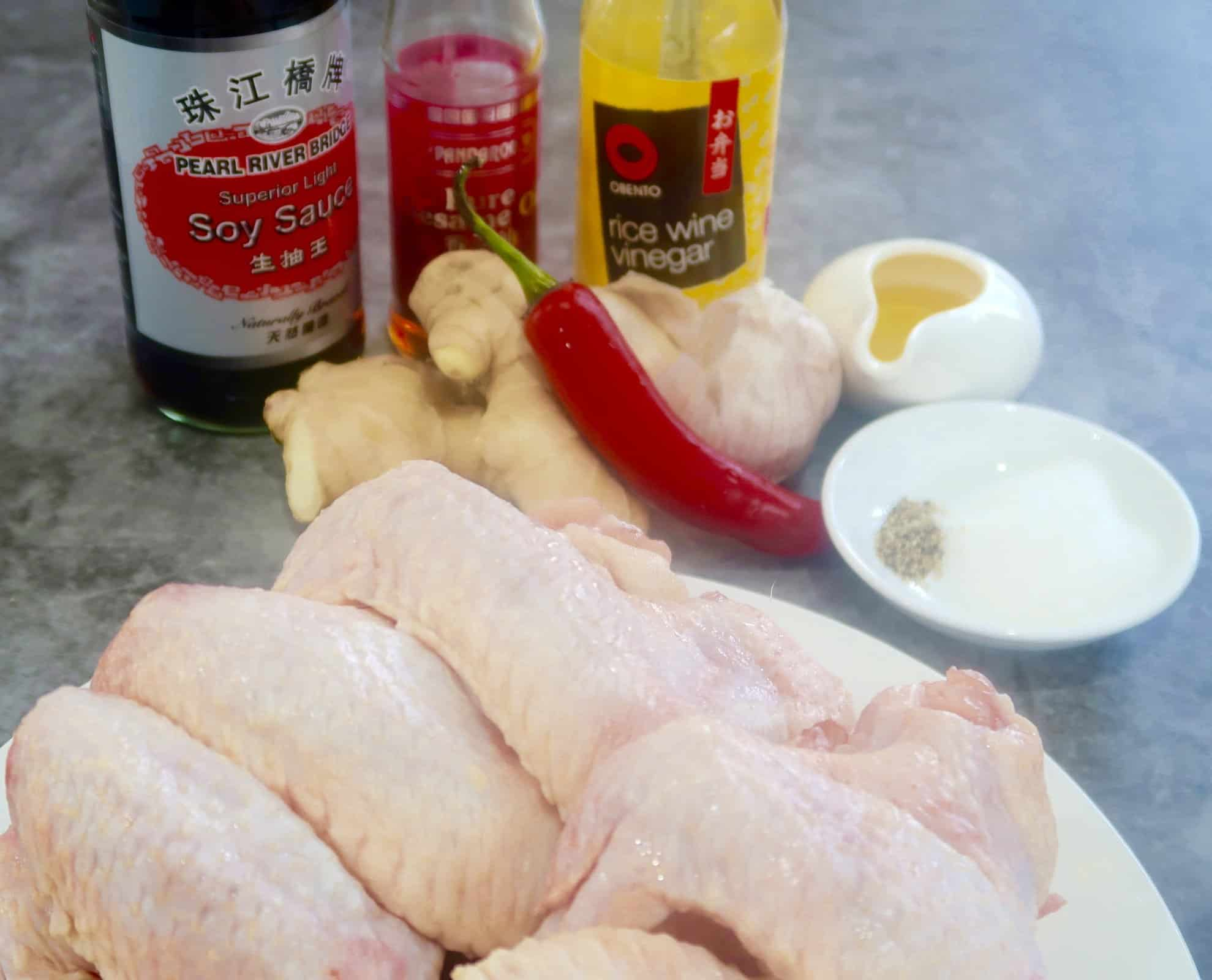 oven baked chicken wings with ginger garlic dressing ingredients ready to cook