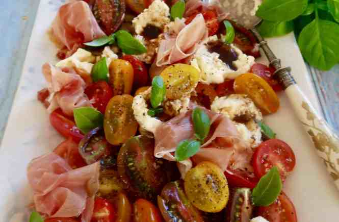 tomato, burrata, basil and prosciutto salad