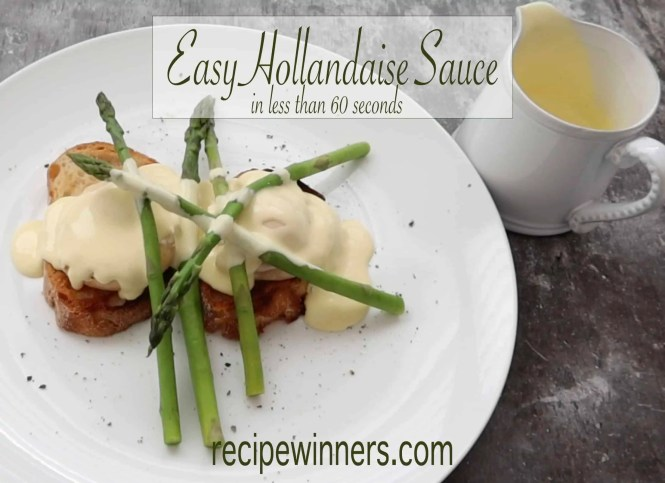white plate with toast, poached eggs, and asparagus topped with easy hollandaise sauce