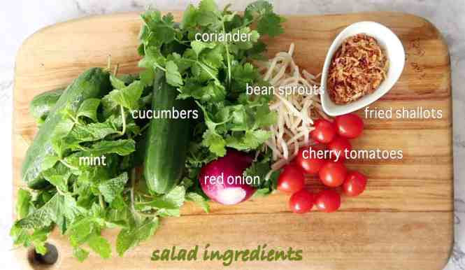 authentic thai beef salad ingredients for the salad