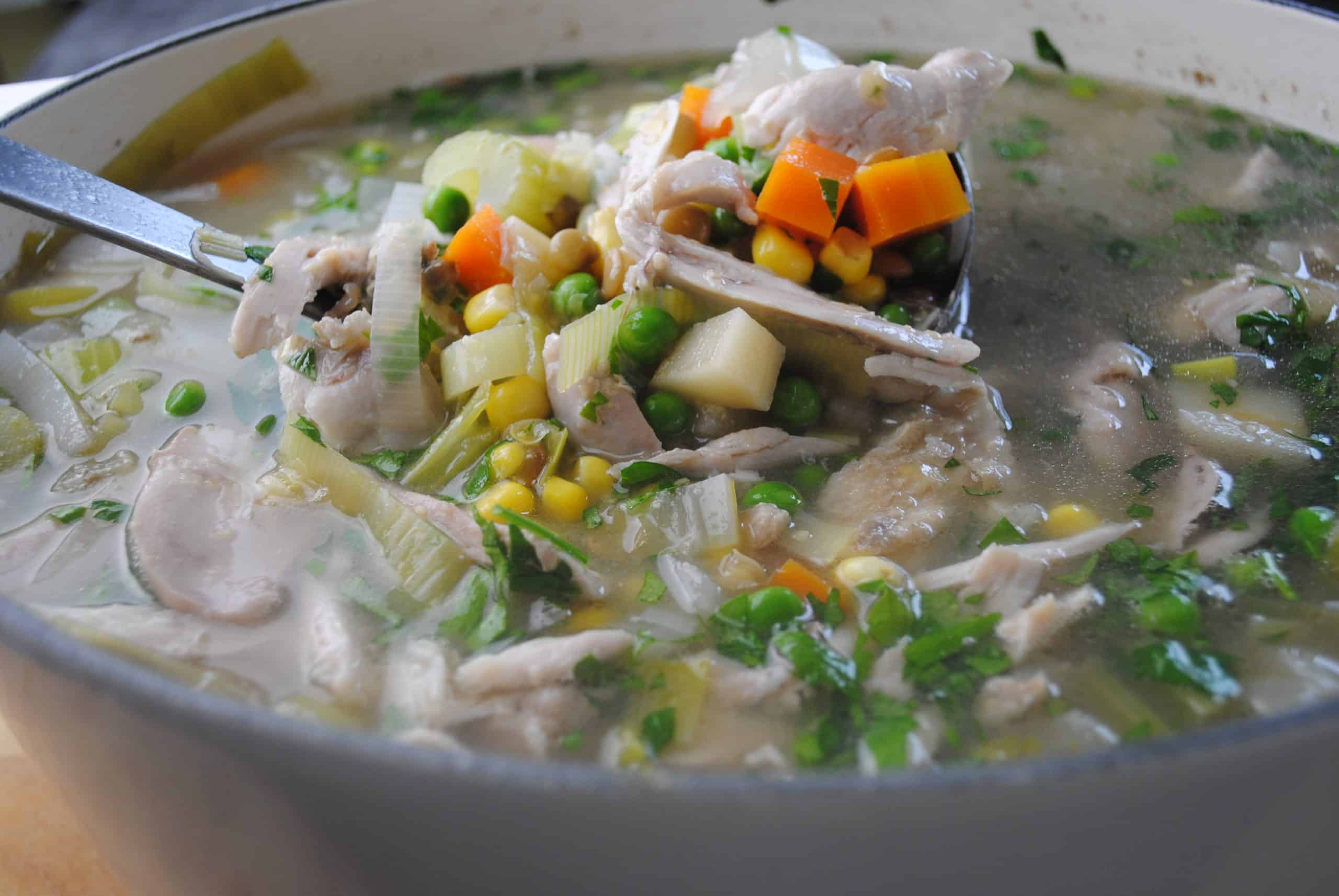 Add chicken, corn kernels, creamed corn, peas, parsley, worstershire sauce, salt and pepper and simmer for a further 15 mins for hearty chicken, vegetable and lentil soup