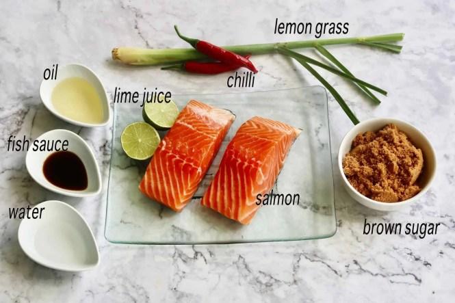 crispy skinned chilli caramel salmon ingredients
