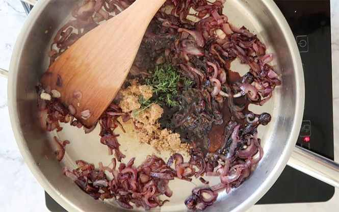 Caramelised Onion ingredients in frying pan for Caramelised Onion and Blue Cheese Mini Quiche