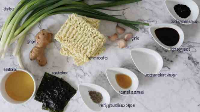 Ingredients for Ginger and Shallot/Scallion Ramen Noodles