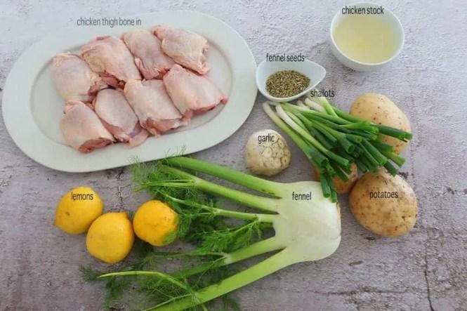 Ingredients to make Chicken Fennel Lemon Tray Bake