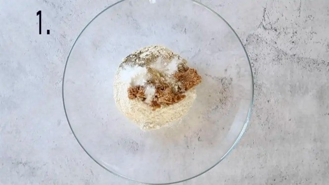 dry ingredients to make Homemade Gourmet Crackers in a glass bowl