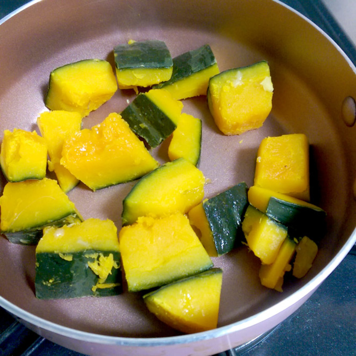 chopped and cooked japanese pumpkin