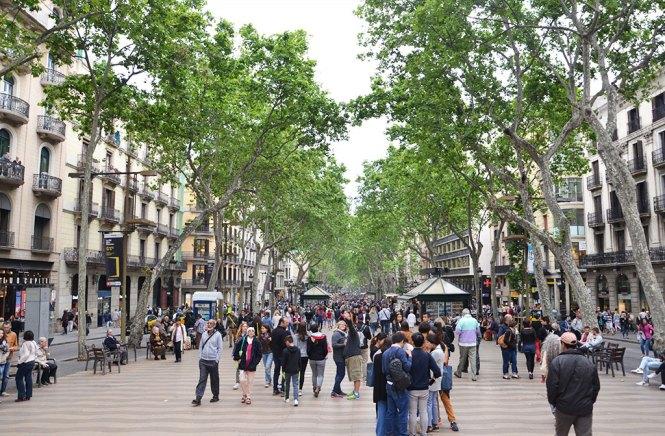 Vue sur Las Ramblas en voyage à Barcelone