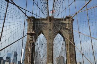 Un morceau du Pont de Brooklyn, le Brooklyn Bridge, New York