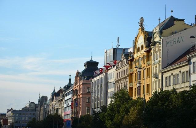 Façades des maisons de la Place Venceslas, Prague