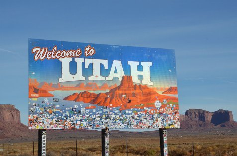 Panneau Utah sur la route de Monument Valley
