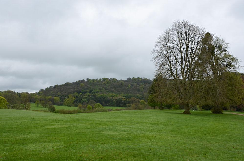 Campagne autour Highclere Castle, lieu de tournage de la série Downton Abbey, campagne anglaise, Royaume Uni