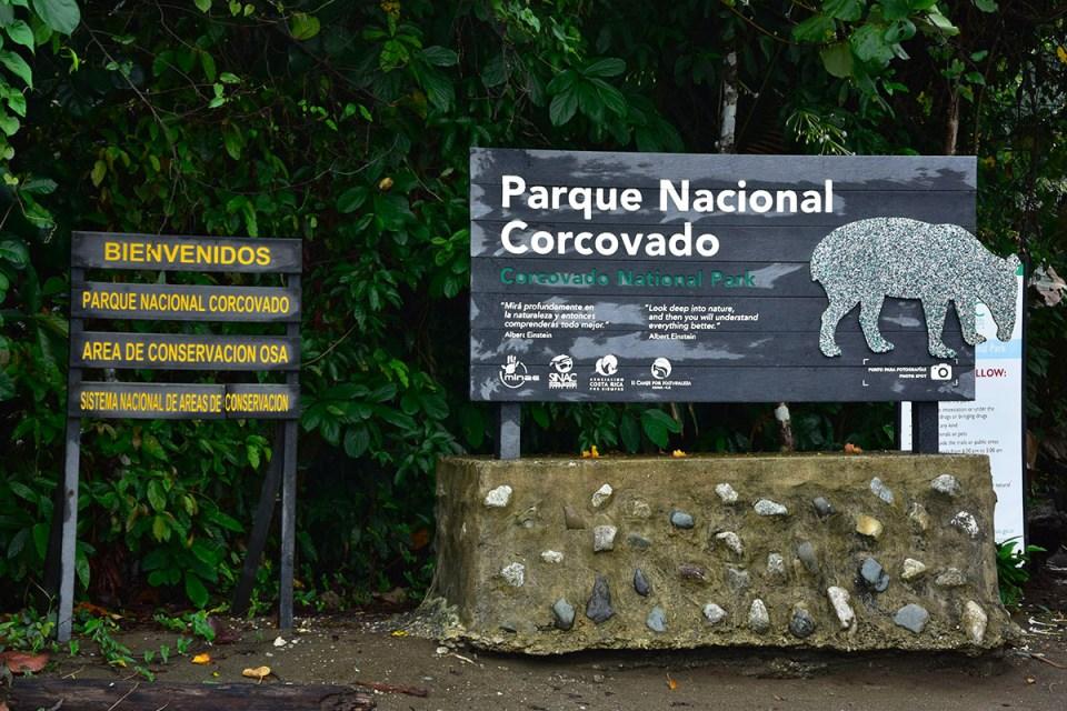 Panneau du Parc Corcovado, Costa Rica
