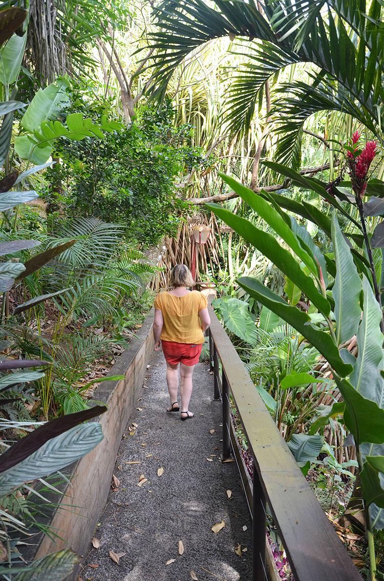 Marie-Catherine dans le jardin du Tendacayou Ecolodge, Guadeloupe