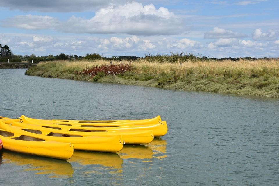 Canoës jaunes d'Aloha Canoë sur le marais d'Oléron